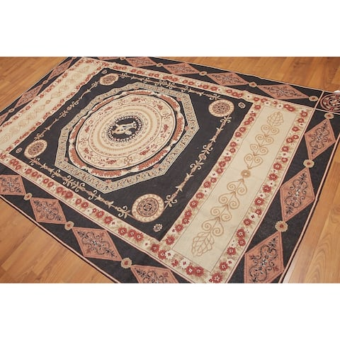 French Country Classic Formal Needlepoint Aubusson Area Rug - Black/Brown - 6' x 9' - 6' x 9'