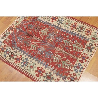 "Traditional Turkish Prayer Rug Kilim Area Rug - 4'4""x9'"