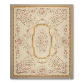 French Country Medallion Needlepoint Aubusson Area Rug - 8'x10'