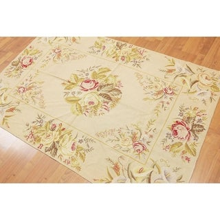 Needlepoint Aubusson Country Cottage Hand Woven Area Rug - 4'x6'