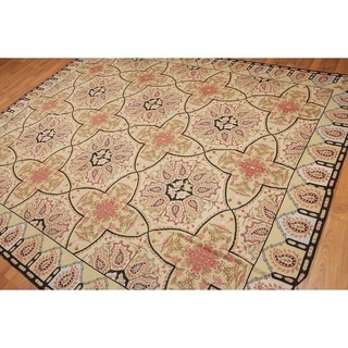 Victorian Classic Patterned Needlepoint Aubusson Area Rug - Light Gold/Black - 8' x 10'