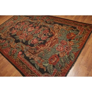 Botanical Turkish Kilim Hand Woven Area Rug - Multi