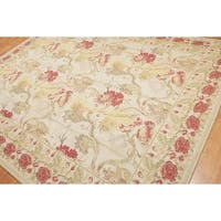 Needlepoint Aubusson Pure Wool Area Rug - 8'x10'