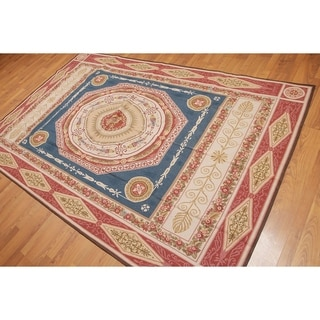 Classic French Medallion Needlepoint Aubusson Area Rug - Blue/Tan - 6' x 9'