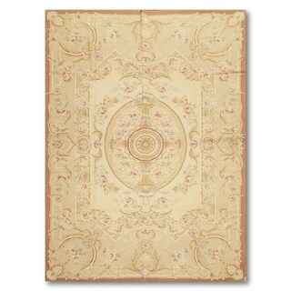 Medallion Formal French Classic Needlepoint Aubusson Area Rug - 6'x9'