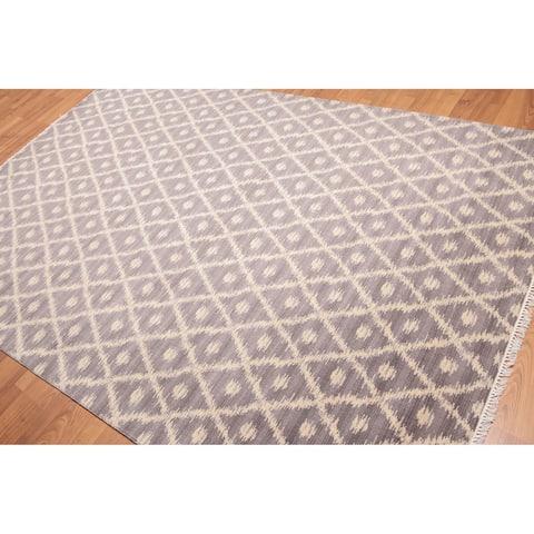 Ikat Design Oriental Hand Knotted Area Rug - Grey/Beige - 6' x 9' - 6' x 9'