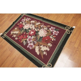 Needlepoint Aubusson Botanical Hand Woven Area Rug - 4'x6'