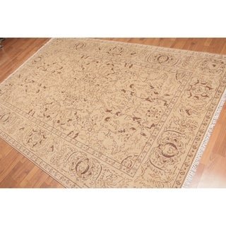 Traditional Oriental Hand Knotted Area Rug - Tan/Brown - 6' x 9'