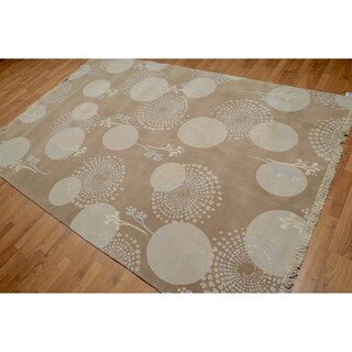 Contemporay Glam Oriental Hand Knotted Area Rug or (6'x9')