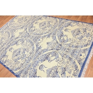 Asia Inspired Oriental Hand Knotted Area Rug r - Ivory/Blue - 6' x 9'