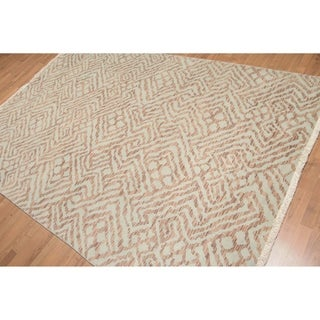 Contemporary Chic Oriental Hand Knotted Area Rug (6'x9')