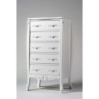 White Label 5 Drawer Dresser (Option: Creme)