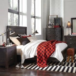 Easton Rustic Dark Chocolate Wood Panel Bed