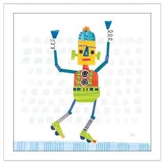 "Melissa Averinos ""Robot Party I on Squares"" Framed Plexiglass Wall Art (4 options available)"