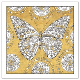 "Daphne Brissonnet ""Color my World Butterfly I Gold"" Framed Plexiglass Wall Art"