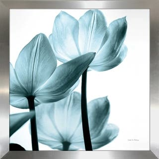 "Debra Van Swearingen ""Translucent Tulips III Sq Aqua Crop"" Framed Plexiglass Wall Art"