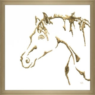 "Chris Paschke ""Gilded Cowpony on White"" Framed Plexiglass Wall Art"