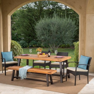 Luster Outdoor 6-piece Rectangle Acacia Wood Wicker Dining Set with Cushions by Christopher Knight Home