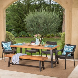 Link to Fletcher Outdoor 6-piece Rectangle Acacia Wood Wicker Dining Set by Christopher Knight Home Similar Items in Patio Furniture