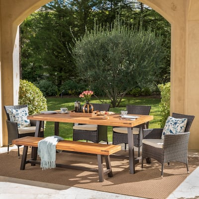Linden Outdoor 6-piece Acacia Wood and Cushioned Wicker Dining Set