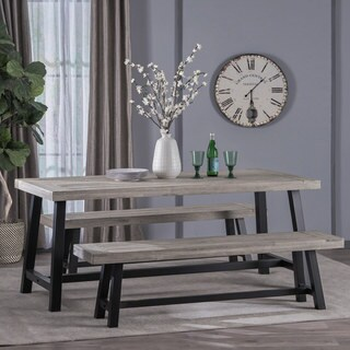 Jubilee Farmhouse 3-piece Rectangle Acacia Wood Dining Set by Christopher Knight Home