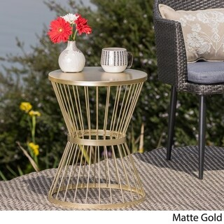 Lassen Outdoor 16-inch Round Side Table by Christopher Knight Home