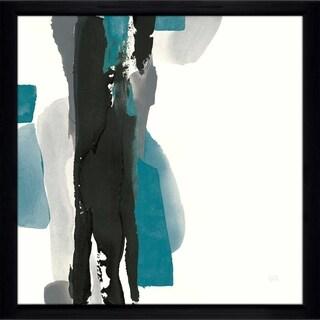 """Chris Paschke """"Black and Teal II"""" Framed Plexiglass Wall Art"""