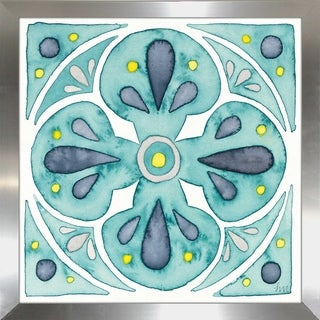 "Laura Marshall ""Garden Getaway Tile VI Teal"" Framed Plexiglass Wall Art (4 options available)"