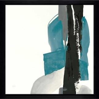 "Chris Paschke ""Black and Teal I"" Framed Plexiglass Wall Art"