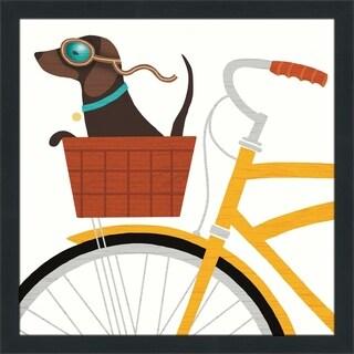 "Michael Mullan ""Beach Bums Dachshund Bicycle I"" Framed Plexiglass Wall Art"