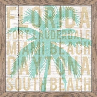 "Michael Mullan ""Bon Voyage Florida Palm"" Framed Plexiglass Wall Art"