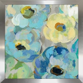 "Silvia Vassileva ""Fresh Teal Flowers II"" Framed Plexiglass Wall Art"