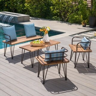 Zion Outdoor 4-piece Industrial Acacia Wood Chat Set by Christopher Knight Home