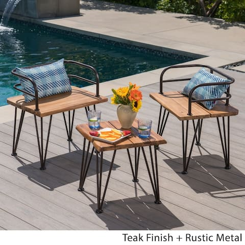 Zion Outdoor 3-piece Industrial Acacia Wood Chat Set by Christopher Knight Home
