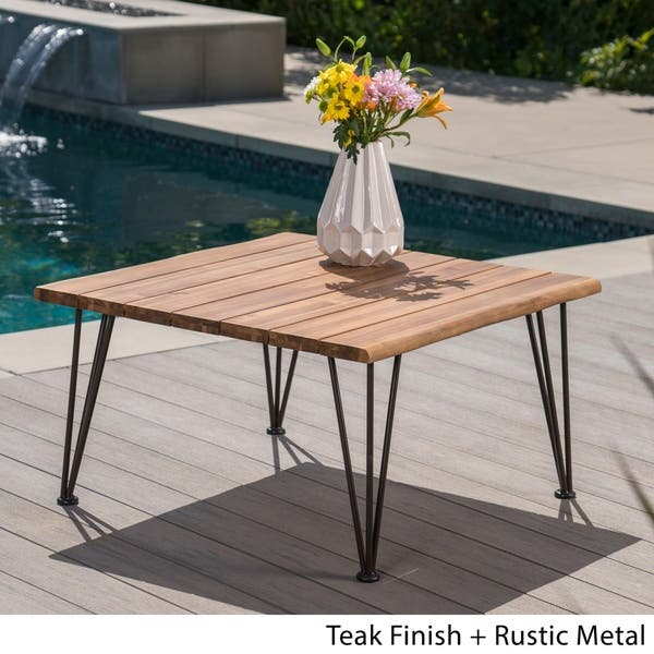 Zion Outdoor Acacia Wood Square Coffee Table