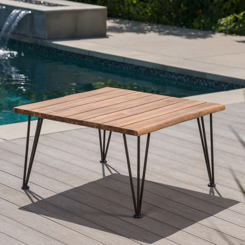 Zion Outdoor Industrial Acacia Wood Square Coffee Table by Christopher Knight Home