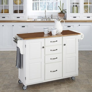 Havenside Home Driftwood Island Cart White Finish Cart