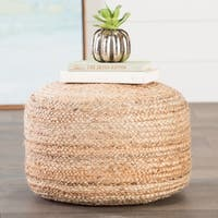 Havenside Home Cape May Modern Tan Cylindrical Shape Jute Pouf