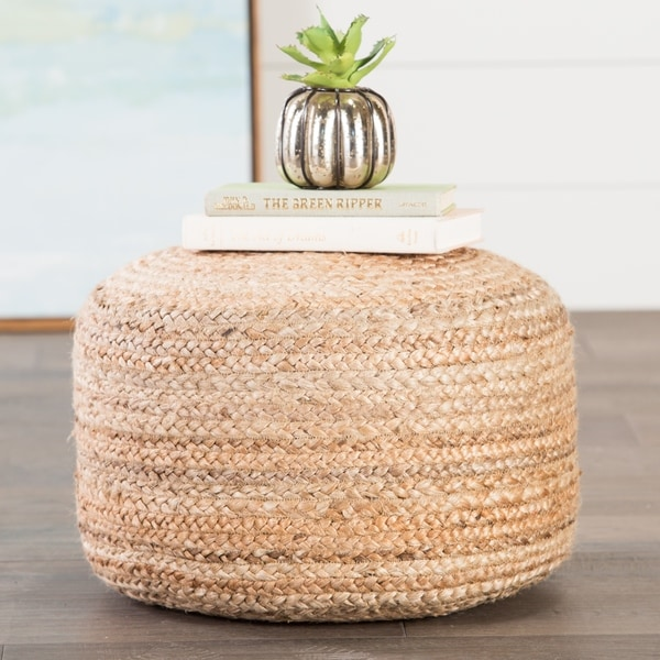 The Curated Nomad Camarillo Modern Tan Cylindrical Shape Jute Pouf