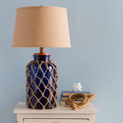 The Curated Nomad Quetzal Nautical Glass and Burlap Table Lamp