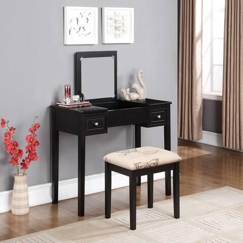 Black Vanity Table with Mirror & Stool