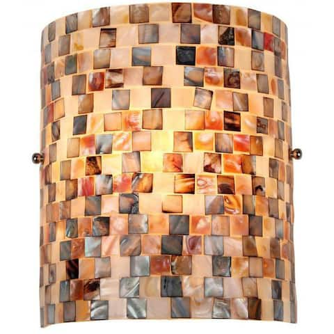 The Curated Nomad Del Paso Sea Shell Mosaic and Glass 1-light Wall Sconce