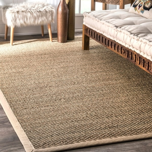 Havenside Home Clearwater Handmade Natural Fiber Cotton Border Seagrass Rug - 5' x 8'