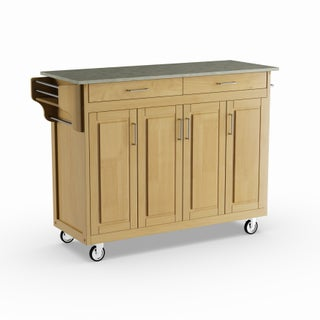 Havenside Home Driftwood Island Cart with Concrete Top