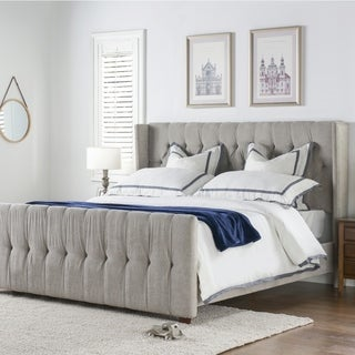 Gracewood Hollow Follett Tufted Wingback Upholstered Bed