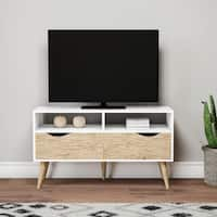 Carson Carrington Nicola White 2-shelf 2-drawer Oak TV stand