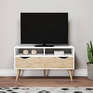 Carson Carrington Kristiansund White 2-shelf 2-drawer Oak TV stand