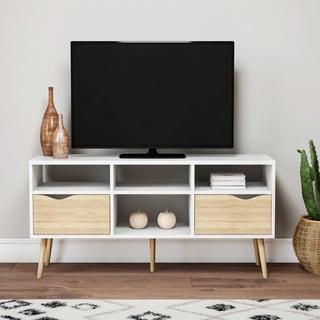 Carson Carrington Kristiansund White 4-shelf 2-drawer TV Stand