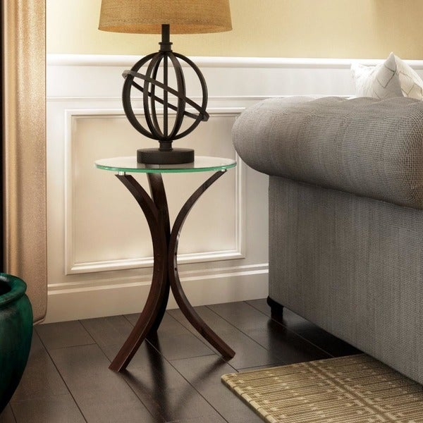 Copper Grove Rochon Glass Top Wood Accent Table