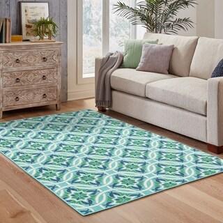 "Havenside Home Lewisburg Floral Blue/Green Indoor-Outdoor Area Rug - 6'7"" x 9'6"""